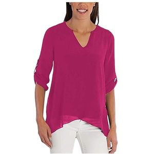 NWT Fever Roll Tab Sleeve Blouse Top